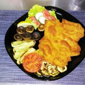 Chicken steak with side dishes